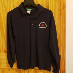Outer banks navy collared blue long sleeve shirt